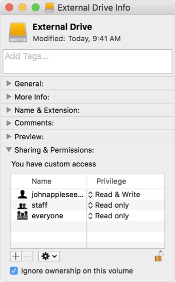 Sharing & Permissions section.